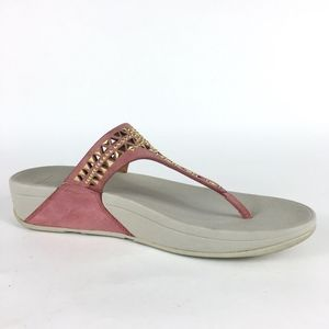 1558eed59f36 Fitflop Shoes - Fitflop Pink Studded Cutout Thong Sandals SZ 11